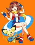 1girl adjusting_goggles baby_pokemon bare_legs brown_eyes brown_hair creatures_(company) fingerless_gloves full_body game_freak gen_2_pokemon gloves goggles goggles_on_head instrument irouha long_hair minami_(pokemon) nintendo open_mouth orange_background pichu pokemon pokemon_(creature) pokemon_ranger scarf shoes sitting sneakers ukulele wink
