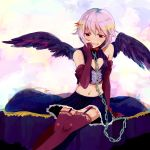 1girl :d arm_gloves bare_shoulders bed black_legwear black_wings blush brown_eyes chain chains collar elbow_gloves garter_straps gloves grey_hair haikaigiga hair_ornament hairclip hand_to_mouth highres idolmaster idolmaster_cinderella_girls koshimizu_sachiko looking_at_viewer midriff navel open_mouth pinstripe_pattern purple_eyes purple_hair short_hair sitting skirt smile solo thigh-highs thighhighs wings