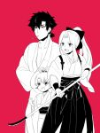 1boy 2girls alternate_hairstyle emiya_kiritsugu family fate/zero fate_(series) hair_bobbles hair_ornament hair_up hakama illyasviel_von_einzbern irisviel_von_einzbern japanese_clothes kimono long_hair monochrome multiple_girls naginata namanurui pink_background polearm ponytail short_ponytail stalk_in_mouth weapon