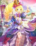 1girl argyle argyle_legwear armor bangs blonde_hair blunt_bangs bowtie castle cocorip crown dated drill_hair frilled_skirt frills green_eyes juliet_sleeves knight long_sleeves open_mouth original overskirt pointing ponytail princess puffy_sleeves