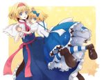2girls alice_margatroid alice_margatroid_(young) blonde_hair blue_eyes cape dual_persona hair_ribbon hairband hands_together multiple_girls ribbon semicolon striped striped_legwear touhou