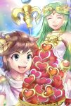 1boy 1girl :d azumi_(tks-sd) bare_shoulders blue_eyes brown_hair closed_eyes dated ears eyes_closed green_hair heart kid_icarus kid_icarus_uprising lips long_hair open_mouth palutena pit_(kid_icarus) scepter signature smile tiara very_long_hair