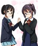 2girls asagiri_shiori black_eyes black_hair blazer book brown_eyes cardigan company_connection creator_connection crossover extra glasses hair_ornament hand_holding holding_hands k-on! kyoto_animation look-alike miyamoto_akiyo multiple_girls mytyl open_cardigan parted_lips pocky purple_eyes school_uniform side_ponytail skirt tamako_market trait_connection violet_eyes