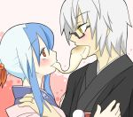 1boy 1girl alternate_costume alternate_hairstyle blue_hair blush couple eating eye_contact food food_in_mouth glasses grey_hair hand_on_another's_shoulder hetero japanese_clothes jewelry kamishirasawa_keine kimono long_hair looking_at_another mochi morichika_rinnosuke multicolored_hair new_year payot pink_background red_eyes ring sag_(karehabase) short_hair touhou two-tone_hair wagashi yellow_eyes