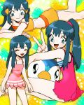 1girl ;) alternate_costume blue_hair hikari_(pokemon) numata piplup pokemon pokemon_(anime) swimsuit v wink