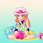 1girl blue_(pokemon) bulbasaur hat long_hair numata oddish orange_eyes orange_hair petting pokemon pokemon_(game) pokemon_frlg porkpie_hat sitting skirt