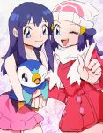 ;) alternate_costume beanie blue_hair dual_persona hat hikari_(pokemon) numata open_mouth piplup pokemon pokemon_(anime) pokemon_(game) pokemon_dppt scarf wink winter_clothes
