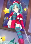 1girl antlers elbow_gloves fur-trimmed_dress fur-trimmed_gloves fur-trimmed_hat fur_trim gesugesu_ahoaho gloves green_eyes green_hair hat holding looking_at_viewer miniskirt monogatari_(series) ononoki_yotsugi panties red_gloves red_hat red_skirt santa_costume santa_hat skirt solo striped striped_legwear striped_panties thigh-highs twintails underwear
