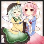 2girls closed_eyes eyes_closed fuuen_(akagaminanoka) hand_holding hat holding_hands komeiji_koishi komeiji_satori multiple_girls open_mouth short_hair smile touhou