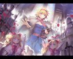 1girl alice_margatroid armor black_legwear blonde_hair blue_dress blue_eyes book bow breasts capelet cleavage culter dress flower grimoire hair_bow hairband lance letterboxed long_hair looking_at_viewer outstretched_arm outstretched_hand pantyhose petals polearm red_rose rose sash shanghai_doll shirt short_hair skirt skirt_set smile stained_glass touhou weapon