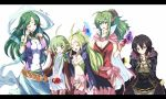 5girls :d adult ahoge black_hair blush bow braid breasts cape chiki choker circlet cleavage cloak crying crystal dress echizen fire_emblem fire_emblem:_kakusei flat_chest garter_straps gloves green_eyes green_hair hair_ornament hair_ribbon heart large_breasts letterboxed long_hair mark_(fire_emblem) midriff multiple_girls naga_(fire_emblem) nn_(fire_emblem) nono_(fire_emblem) open_mouth pants pink_legwear pointy_ears ponytail purple_eyes red_eyes ribbon sash shawl short_hair side_braid side_slit skirt smile tears thigh-highs thighhighs translated translation_request twin_braids violet_eyes wavy_mouth wince
