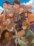 2girls 5boys :d animal_ears armband blonde_hair blue_eyes bowtie brown_hair capelet cat_ears catboy chiepoo closed_eyes elf eyes_closed facial_mark fingerless_gloves forehead_mark gensou_suikoden gensou_suikoden_iv gloves green_eyes grey_eyes headband hug jewel_(suikoden) keneth lazlo maru-pan multiple_boys multiple_girls open_mouth paula_(suikoden) pointy_ears saucer short_hair shorts silver_hair smile snowe_vingerhut tail tal vest whiskers
