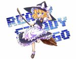 1girl blonde_hair blue_eyes braid broom hair_ribbon hat kirisame_marisa open_mouth ribbon short_hair skirt smile solo tobi_(nekomata_homara) touhou