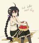 1girl ahoge bare_shoulders basket black_hair black_legwear blue_eyes braid camisole flat_chest frilled_skirt hair_ornament hair_ribbon heart long_hair pantyhose pas_(paxiti) ribbon single_braid sitting skull_and_crossbones skull_hair_ornament solo spaghetti_strap twin_braids very_long_hair