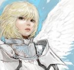 1girl armor black_eyes blonde_hair bust knight lips looking_at_viewer original pon short_hair solo wings