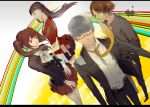 2boys 2girls absurdres amagi_yukiko black_hair brown_eyes brown_hair formal grey_eyes grey_hair hanamura_yousuke headphones highres kujikawa_rise long_hair looking_at_viewer multiple_boys multiple_girls narukami_yuu necktie no_legwear par. persona persona_4 short_hair skirt smile suit