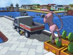 1boy 3d backpack bag drew108 floating harbor house mew motor_vehicle no_humans ocean on_stomach pokemon pokemon_(game) pokemon_center pokemon_frlg pokemon_mart red_(pokemon) red_(pokemon)_(remake) rock scenery searching sky truck vehicle water