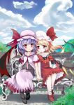2girls ankle_socks bare_shoulders bat_wings bench blonde_hair blouse blue_sky blush brick_wall buttons cloud clouds collarbone dress flandre_scarlet flower grass hand_holding hat hat_ribbon head_to_head highres holding_hands lavender_hair light_smile looking_at_viewer mob_cap multiple_girls natsuya pantyhose petticoat red_dress red_eyes remilia_scarlet ribbon short_hair short_sleeves siblings side_ponytail sisters sitting skirt sky touhou tree vest wings