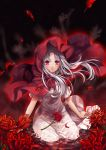 1girl blood bloody_tears elysion flower highres hood kingchenxi lafrenze long_hair parted_lips partially_submerged red_eyes solo sound_horizon spider_lily white_hair
