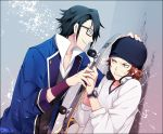 2boys anger_vein beanie black_hair brown_hair fushimi_saruhiko glasses hat k_(anime) multiple_boys red_hair redhead skateboard yata_misaki yun_(neo)