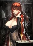 1girl breasts cape cleavage coin cup demon_girl dress gold hair_tucking large_breasts long_hair looking_at_viewer maou_(maoyuu) maoyuu_maou_yuusha red_eyes red_hair redhead ryuuzaki_itsu smile solo spoon sunbeam sunlight
