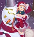 1girl :d bangs blonde_hair blue_eyes blunt_bangs braid breasts christmas cleavage dress earrings fur_trim hat jacket jewelry k+ long_hair merry_christmas open_mouth original red_legwear sack salute santa_costume santa_hat scarf smile snow snowman solo thigh-highs thighhighs