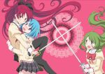 3girls ayukko_(forest_village) blue_eyes blue_hair blush bow green_eyes green_hair hair_bow jewelry long_hair mahou_shoujo_madoka_magica miki_sayaka multiple_girls parody ponytail red_eyes red_hair redhead ring sakura_kyouko school_uniform shizuki_hitomi short_hair shoujo_kakumei_utena smile sword thigh-highs thighhighs weapon zettai_ryouiki