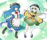 2girls blue_hair closed_eyes colored eyes_closed food fruit fuuen_(akagaminanoka) green_eyes green_hair hand_holding hat hinanawi_tenshi holding_hands komeiji_koishi long_hair multiple_girls open_mouth peach smile star touhou very_long_hair