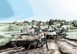 cable crossover girls_und_panzer hatsune_miku ikamusume isuzu_hana military military_vehicle nishizumi_maho reizei_mako road rxjx shinryaku!_ikamusume takebe_saori tank tiger_(tank) tree vehicle vocaloid world_war_ii