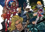 andromeda_shun armor avengers black_widow captain_america clint_barton crossover cygnus_hyouga dragon_shiryuu full_armor hawkeye_(marvel) hulk iron_man loki_(marvel) long_hair multiple_boys natasha_romanoff pegasus_seiya phoenix_ikki saint_seiya shield short_hair steve_rogers thor_(marvel) zaionic