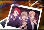 3boys brown_hair cigarette glasses glasses_removed k_(anime) kusanagi_izumo multiple_boys photo_(object) red_hair redhead suou_mikoto_(k) tatara_totsuka totsuka_tatara v yun_(neo)