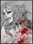 1girl bare_shoulders blood blood_splatter border braid bust dizmathik eyeshadow fangs grey hong_meiling makeup monochrome no_hat no_headwear open_mouth partially_colored red_eyes solo teeth touhou twin_braids