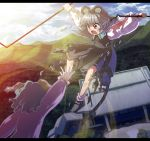 2girls animal_ears battle blood blood_from_mouth blue_sky bruise cloud clouds dowsing_rod dress east_asian_architecture flying forest from_behind green_hair grey_dress grey_hair highres injury jewelry kasodani_kyouko letterboxed light_trail long_sleeves mountain mouse_ears mouse_tail multiple_girls nature nazrin nosebleed open_hand outstretched_arm pendant red_eyes shope short_hair sky tail tears torn_clothes touhou