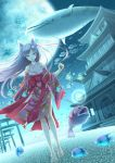 1girl animal_ears barefoot fish fox_ears japanese_clothes kimono long_hair moon original short_kimono shrine silver_hair surreal walking water whale youkuzuri
