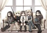 5girls angelica assault_rifle black_hair black_legwear blonde_hair blue_eyes book brown_eyes brown_hair bullpup claes dragunov_svd glasses gun gunslinger_girl henrietta highres multiple_girls p90 pantyhose rico rifle shotgun sitting sniper_rifle steyr_aug triela tsukumizu_yuu weapon winchester_model_1897