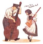 1boy 1girl apron black_hair broom closed_eyes double_bass english eyes_closed hat instrument maid mary_janes musical_note necktie original playing_instrument shoes short_hair smile terajin traditional_media uniform waist_apron white_legwear