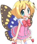 1girl :d ahoge antennae artist_request bare_arms blonde_hair blue_eyes blush bow butterfly butterfly_wings dress flat_chest frilled_dress frills looking_at_viewer open_mouth shimon shimotsuma short_hair simple_background sleeveless sleeveless_dress smile solo source_request thigh-highs white_background white_legwear wings zettai_ryouiki