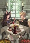 2girls animal_ears apple bare_shoulders basket black_hair blonde_hair braid candle coffee coffee_pot cup food fox fox_ears fox_tail fruit jam long_hair multiple_girls okishiji_en orange original sandals short_hair side_braid spoon table tail window