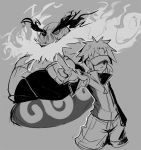 1boy crossed_arms emboar fangs hat_over_one_eye kyouhei_(pokemon) monochrome no_legs pointing pointing_forward pokemon pokemon_(creature) pokemon_(game) pokemon_bw2 popped_collar sho-n-d shorts visor_cap zipper