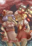 2girls bat blood flandre_scarlet hat miku_(mitty39) moon multiple_girls red_eyes remilia_scarlet scarlet_devil_mansion touhou wings