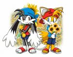 2boys animal bandai blue_shirt bunny caps crossover deviantart dragonlord99 flip-flops flower fox furry kaze_no_klonoa klonoa long_ears look-alike male mammal miles_prower miles_tails_prower namco no_humans rabbit red_shirt sandals sega shorts sonic_team sonic_the_hedgehog spring sunflower tails_(sonic) trait_connection
