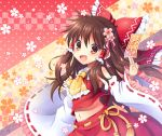 1girl ascot brown_eyes brown_hair detached_sleeves hair_tubes hakurei_reimu japanese_clothes long_hair mauve miko navel solo touhou