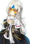 1girl black_dress dress elsword eve_(elsword) expressionless forehead_jewel jewelry long_hair poseich ring solo white_background white_hair yellow_eyes