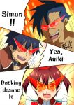 1girl 2boys crossover english glasses isshiki_akane kamina kamina_shades parody simon tengen_toppa_gurren_lagann vividred_operation