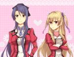 2girls arisa_sugitou blonde_hair character_request crossed_arms eiyuu_densetsu falcom frown long_hair multiple_girls necktie pink_background ponytail purple_eyes purple_hair sen_no_kiseki smile two_side_up uniform violet_eyes yellow_eyes