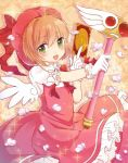 1girl brown_hair card cardcaptor_sakura clow_card dress fuuin_no_tsue gloves green_eyes hat holding holding_card kinomoto_sakura short_hair wand wings yukibuster