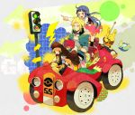 1boy 1girl alternate_costume blonde_hair blue_hair car casual denji_(pokemon) elekid gift hair_ornament hairclip hikari_(pokemon) jacket lightning long_hair motor_vehicle piplup pointing pokemon pokemon_(game) pokemon_dppt pomeko short_hair skirt traffic_light vehicle