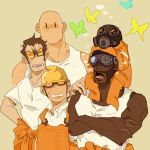4boys bald butterfly carrying chell chell_(cosplay) cosplay dark_skin facial_hair gas_mask helmet multiple_boys no_hat no_headwear open_mouth overalls portal portal_2 pyrovision_goggles shoulder_carry sunglasses t8909 team_fortress_2 the_demoman the_engineer the_heavy the_pyro the_sniper tongue