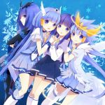 4girls aoki_reika bad_end_beauty bike_shorts blue blue_background blue_dress blue_eyes blue_hair bodysuit boots cure_beauty dark_persona dress hair_tubes halo hand_holding holding_hands long_hair magical_girl multiple_girls multiple_persona nunucco payot precure princess_form_(smile_precure!) shorts_under_skirt single_thighhigh skirt smile smile_precure! thigh-highs thighhighs tiara
