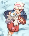 1girl beanie blue_eyes blue_hair dated hat hikari_(pokemon) hikari_(pokemon)_(remake) holding holding_poke_ball junkpuyo kneehighs long_hair piplup poke_ball pokemon pokemon_(game) scarf shared_scarf smile snow winter_clothes winter_coat